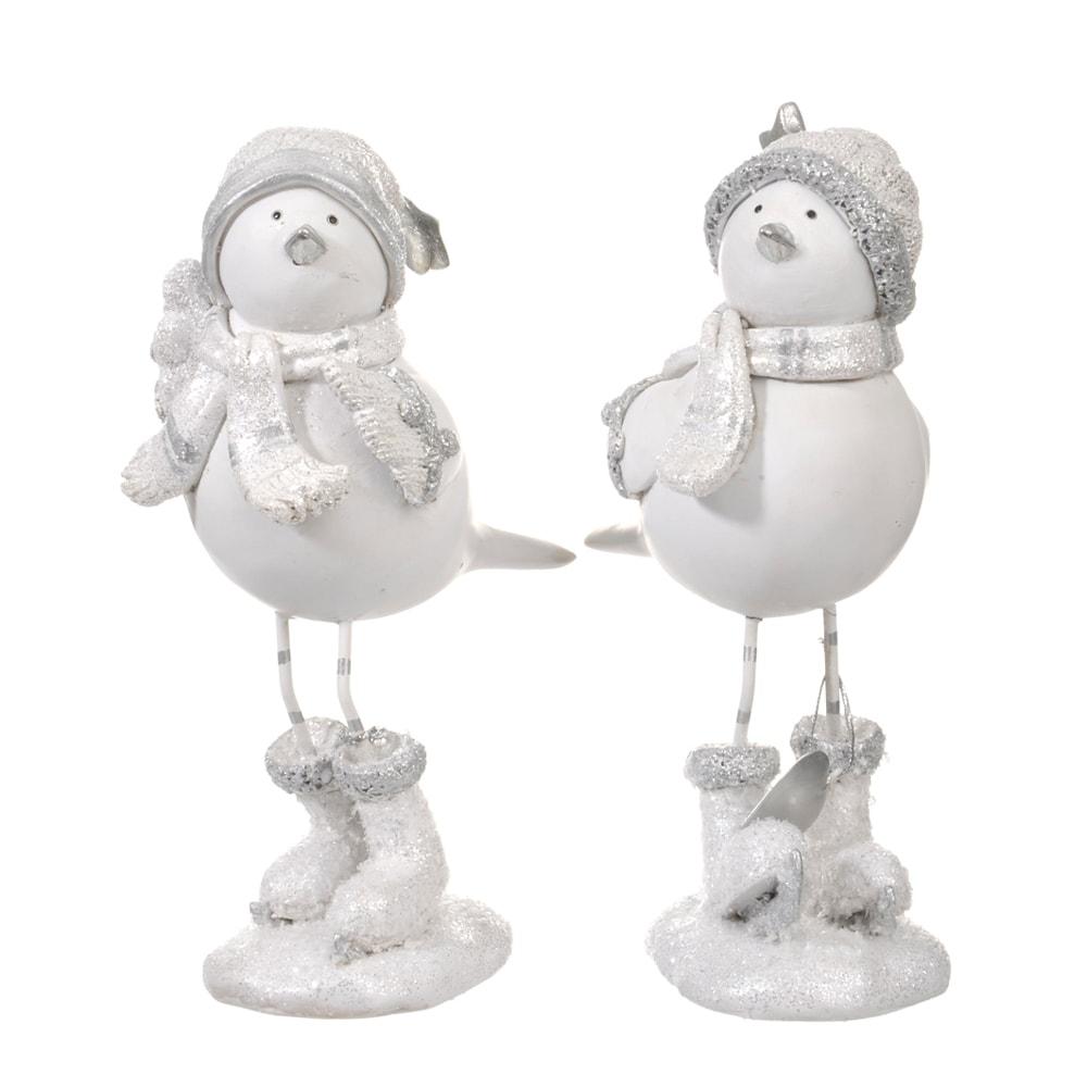 Conjunto de Esculturas - 2 Peças - Pássaros no Inverno Branco em Resina - 19x8 cm
