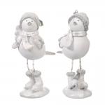 Conjunto Esculturas Pássaros no Inverno Branco em Resina