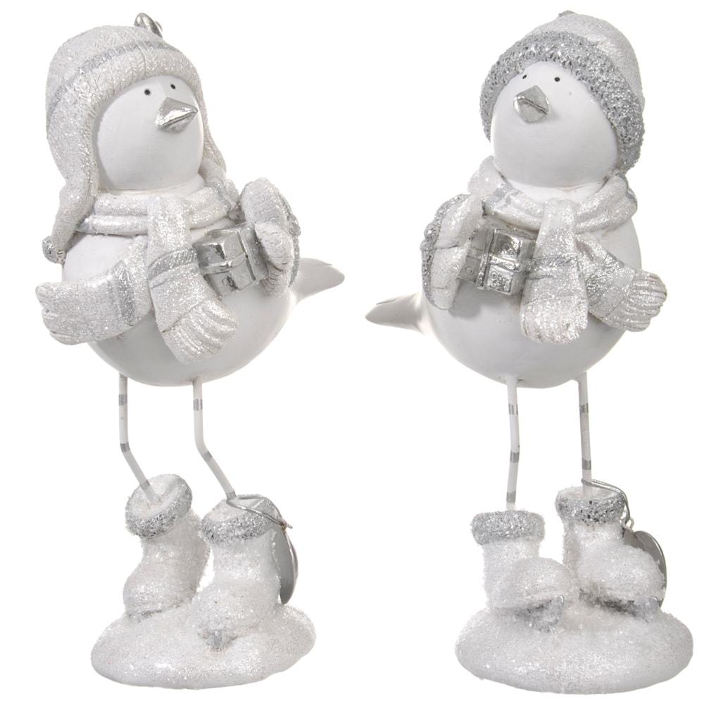 Conjunto de Esculturas - 2 Peças - Pássaros com Presentes Branco em Resina - 24x16 cm