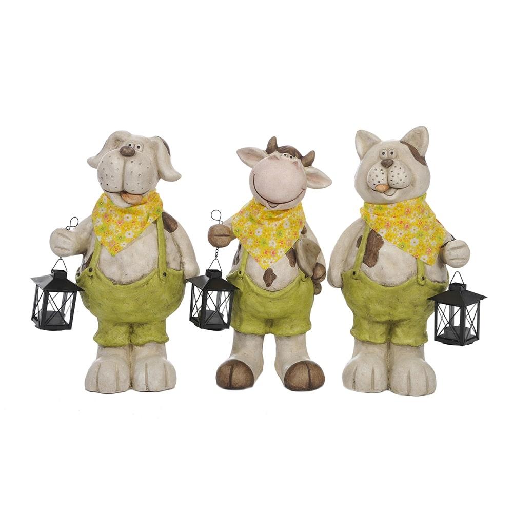Conjunto de Esculturas Animais de Jardineira - 3 Peças - em Cerâmica - 42x23 cm