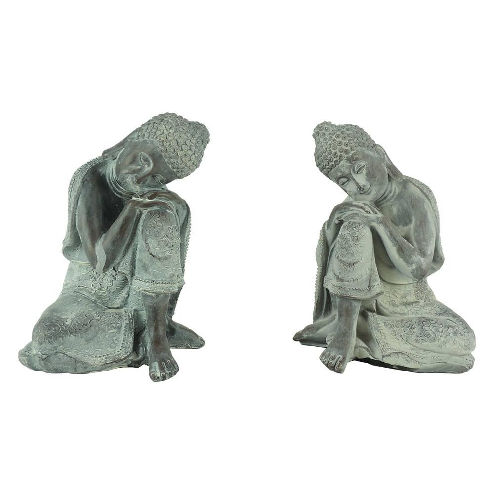 Conjunto de Esculturas Buda Antique - 2 Peças - Cinza em Polipropileno - 17x12 cm