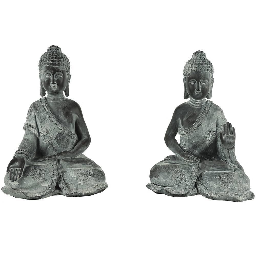 Conjunto de Esculturas Buda Antique - 2 Peças - em Polipropileno - 33x24 cm