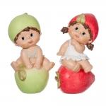 Conjunto de Esculturas Crianças Frutas Sentadas em Resina