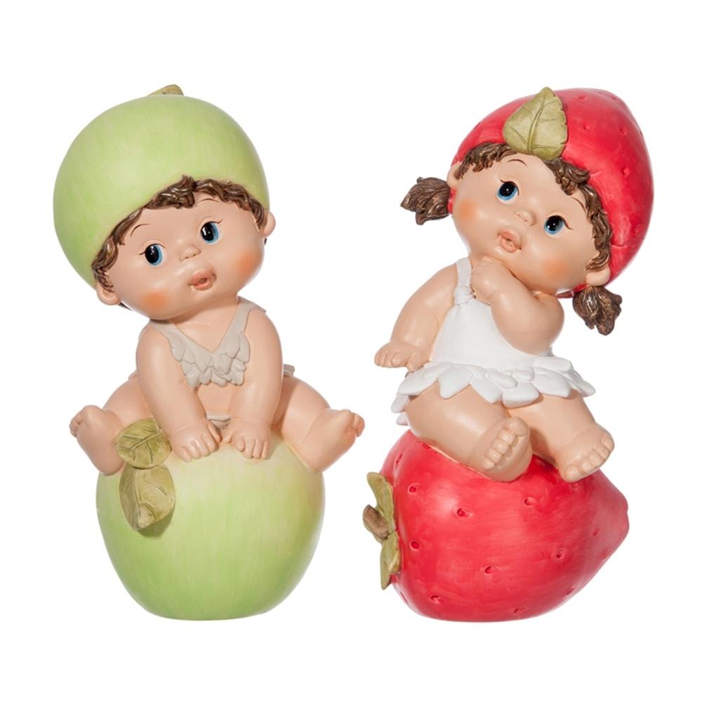 Conjunto de Esculturas Crianças Frutas Sentadas em Resina - 25x14 cm