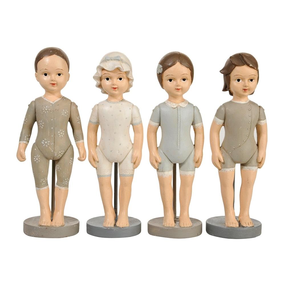 Conjunto de Esculturas - 4 Peças - Crianças em Porcelana - 17x5 cm