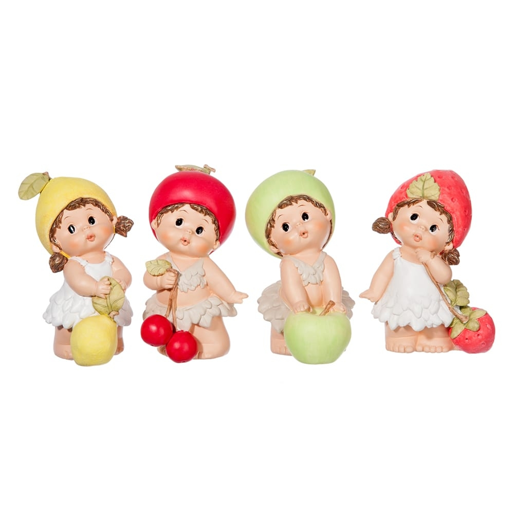 Conjunto de Esculturas Médias Crianças Frutas em Resina - 18x12 cm