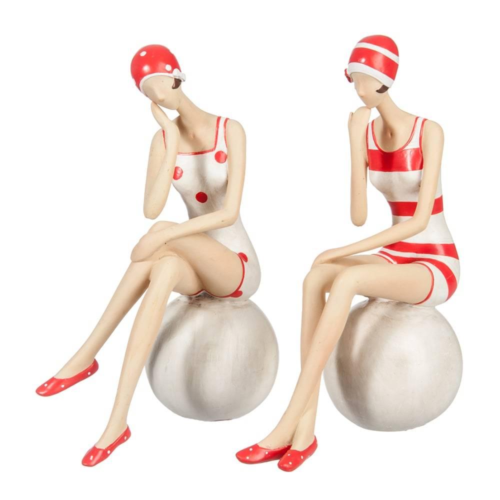 Conjunto de Esculturas Nadadoras na Bola Branco e Vermelho em Cerâmica - 20x14,5 cm