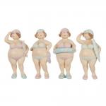 Conjunto de Esculturas Pequenas Banhistas em Pé em Resina