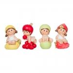 Conjunto de Esculturas Pequenas Crianças Frutas em Resina