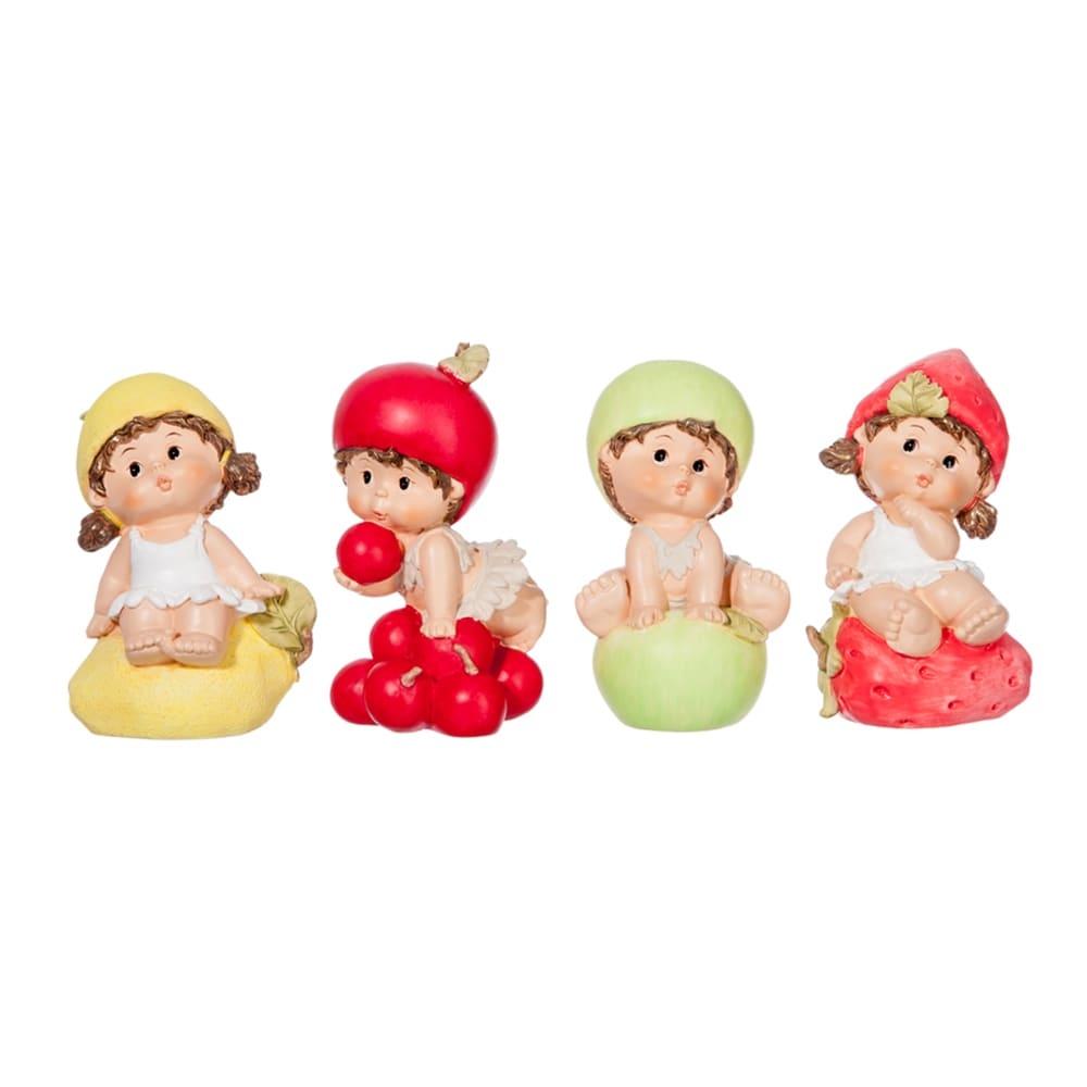 Conjunto de Esculturas Pequenas Crianças Frutas em Resina - 14x8 cm