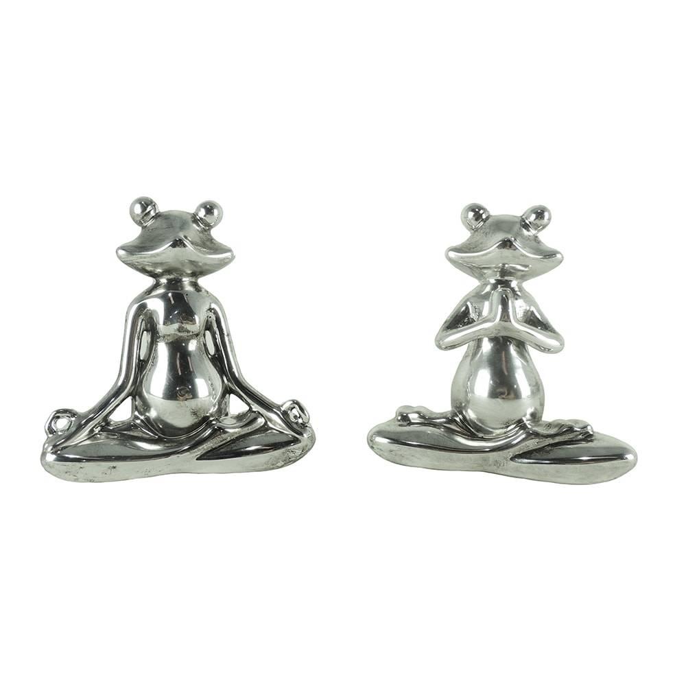 Conjunto de Esculturas Sapo Yoga - 2 Peças - Prata em Cerâmica - 13,5x13,5 cm