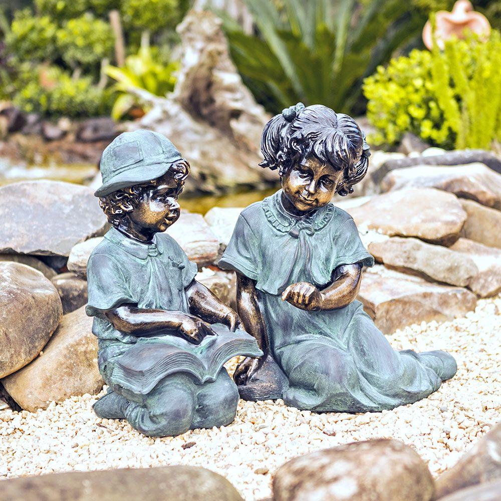 Conjunto de Estatuas Duas Crianças c/ Livro Greenway - 49x43