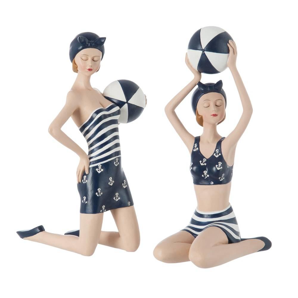 Conjunto de Estatuetas - 2 Peças - Nadadoras de Azul com Bola - 23x15 cm