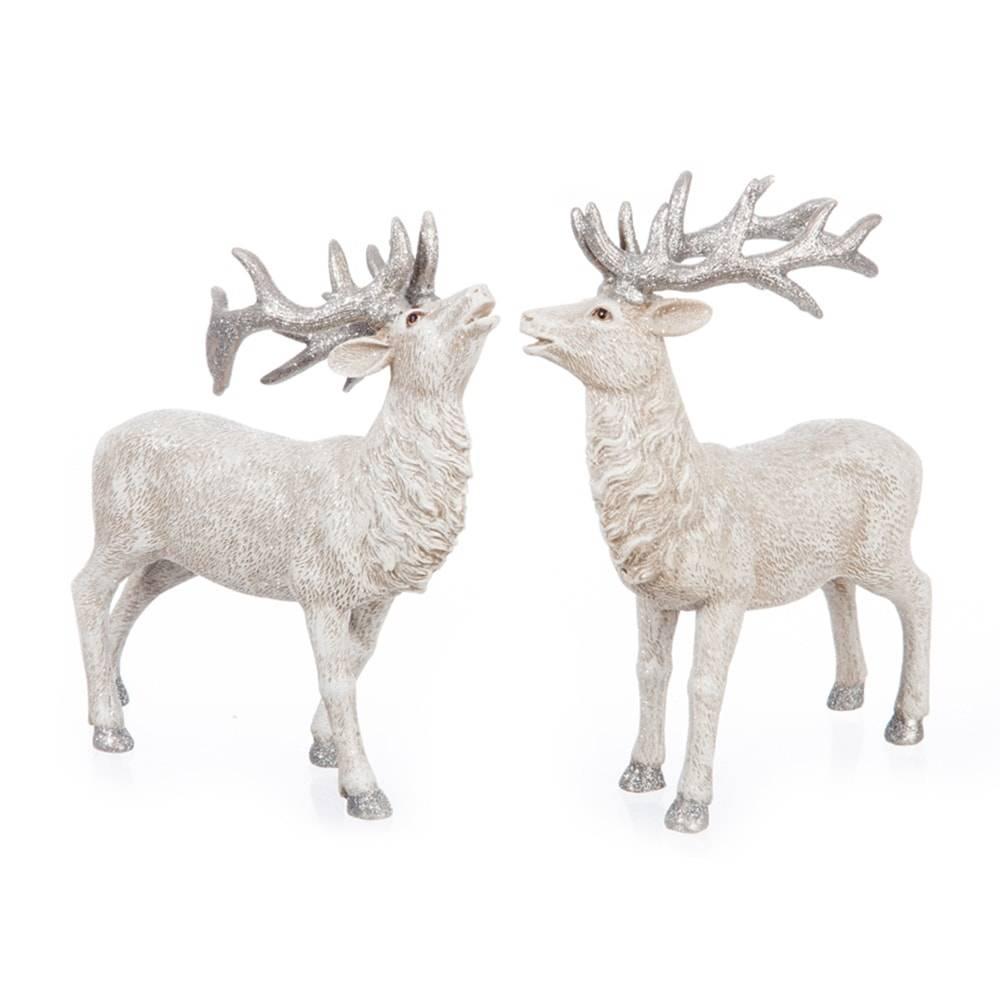Conjunto de Estatuetas Alce Branco em Cerâmica - 22x20 cm