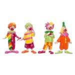 Conjunto de Estatuetas Pequenas Palhaços Coloridos em Resina