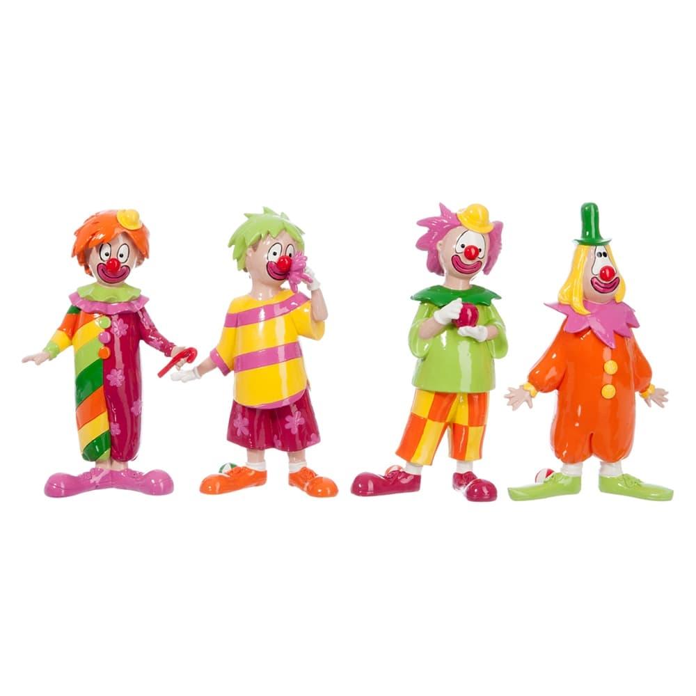 Conjunto de Estatuetas Pequenas Palhaços Coloridos em Resina - 22x14 cm