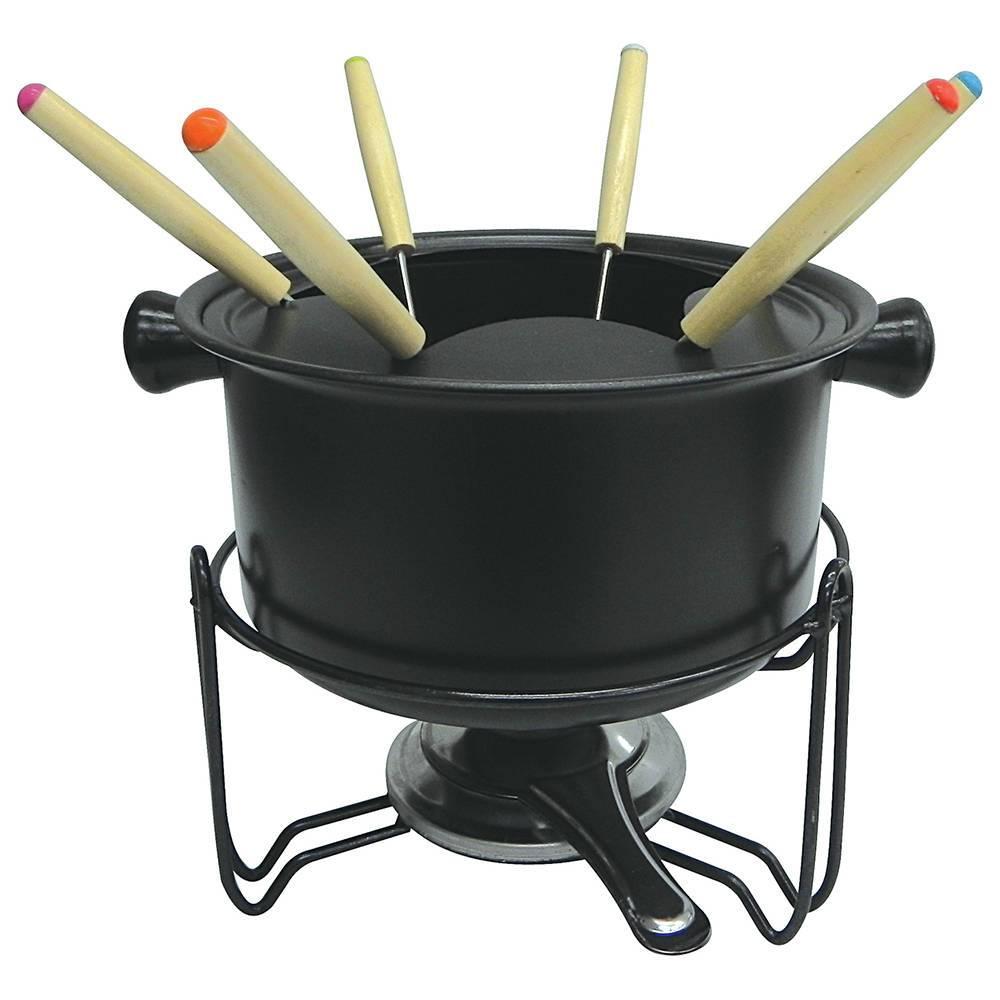 Conjunto para Fondue Black - 10 Peças - em Ferro Fundido -  Bon Gourmet - 18 cm