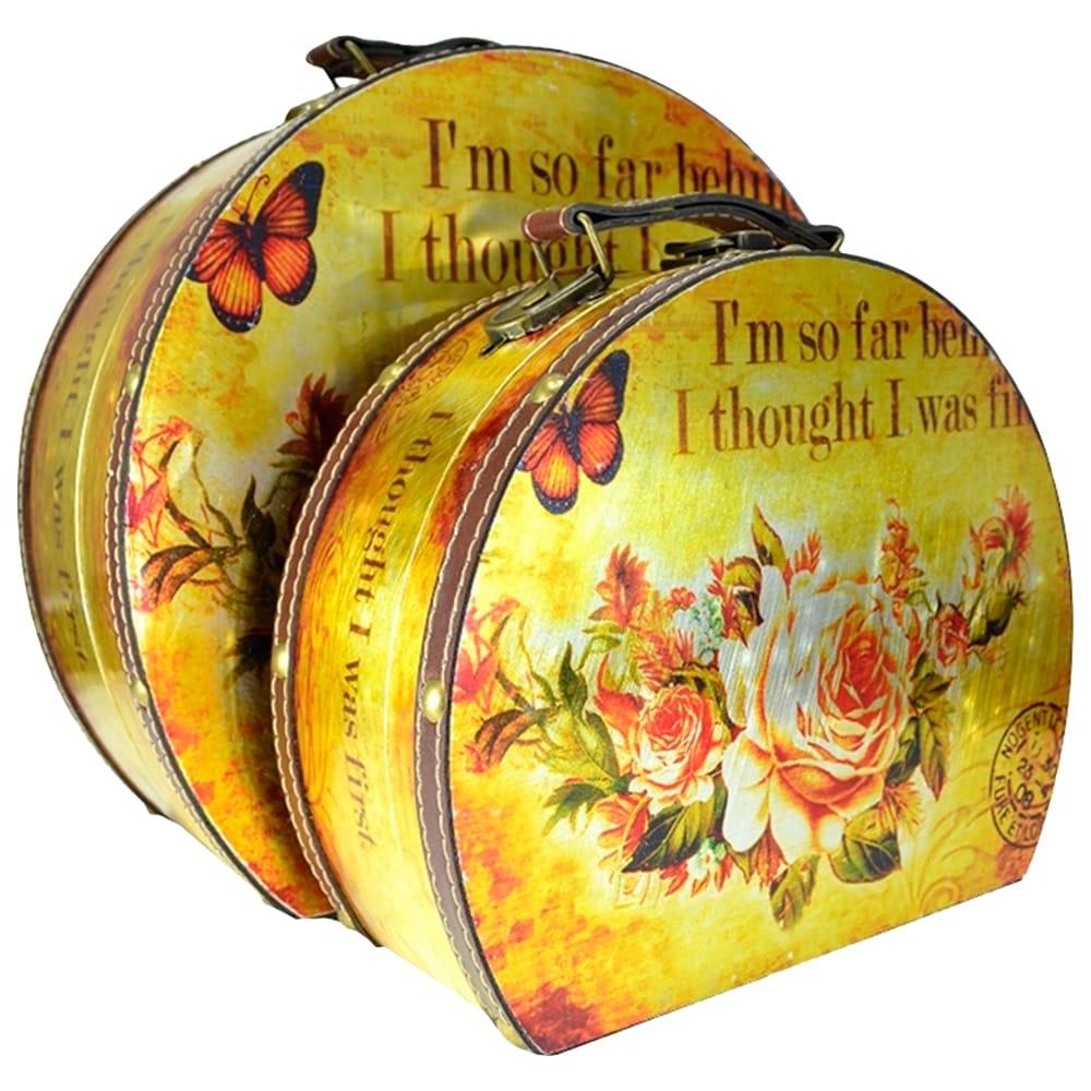 Conjunto de Frasqueiras Floral - 2 Peças - com Efeito Escovado em Madeira - 26x22 cm