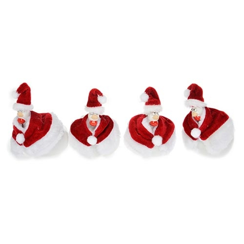 Conjunto de Galinhas - 4 Peças - Papai Noel em Cerâmica - 11x8 cm