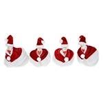 Conjunto de Galinhas - 4 Peças - Papai Noel em Cerâmica