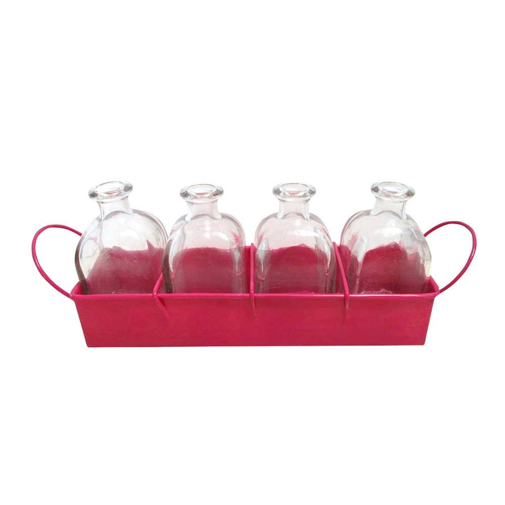 Conjunto Garden Delicate 4 Vasos em Vidro com Suporte Rosa em Metal - Urban - 28x9,6 cm