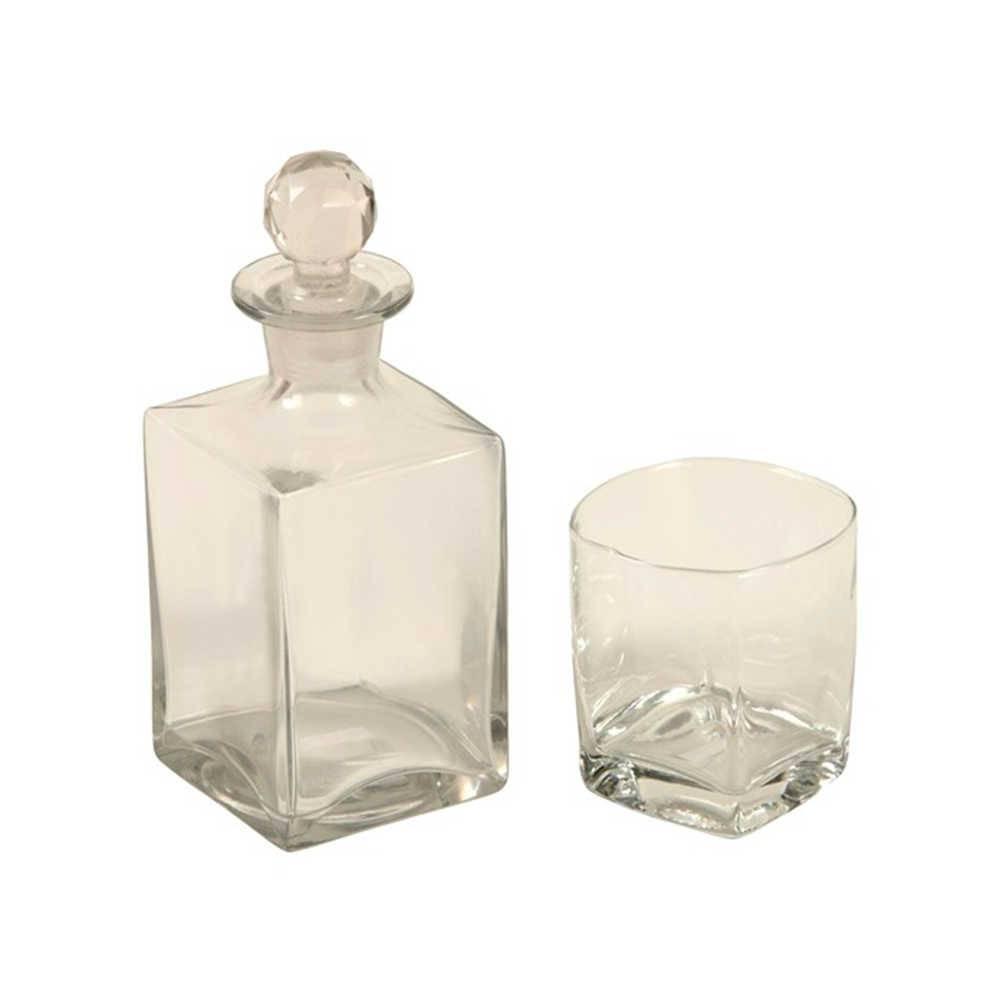 Conjunto Garrafa e Copo Para Whisky Transparente - 2 Peças - Em Vidro - 23x8 cm
