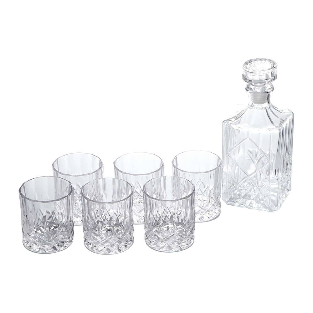 Conjunto Garrafa de Whisky e Copos - 7 Peças - em Vidro - Bon Gourmet - 25x10 cm