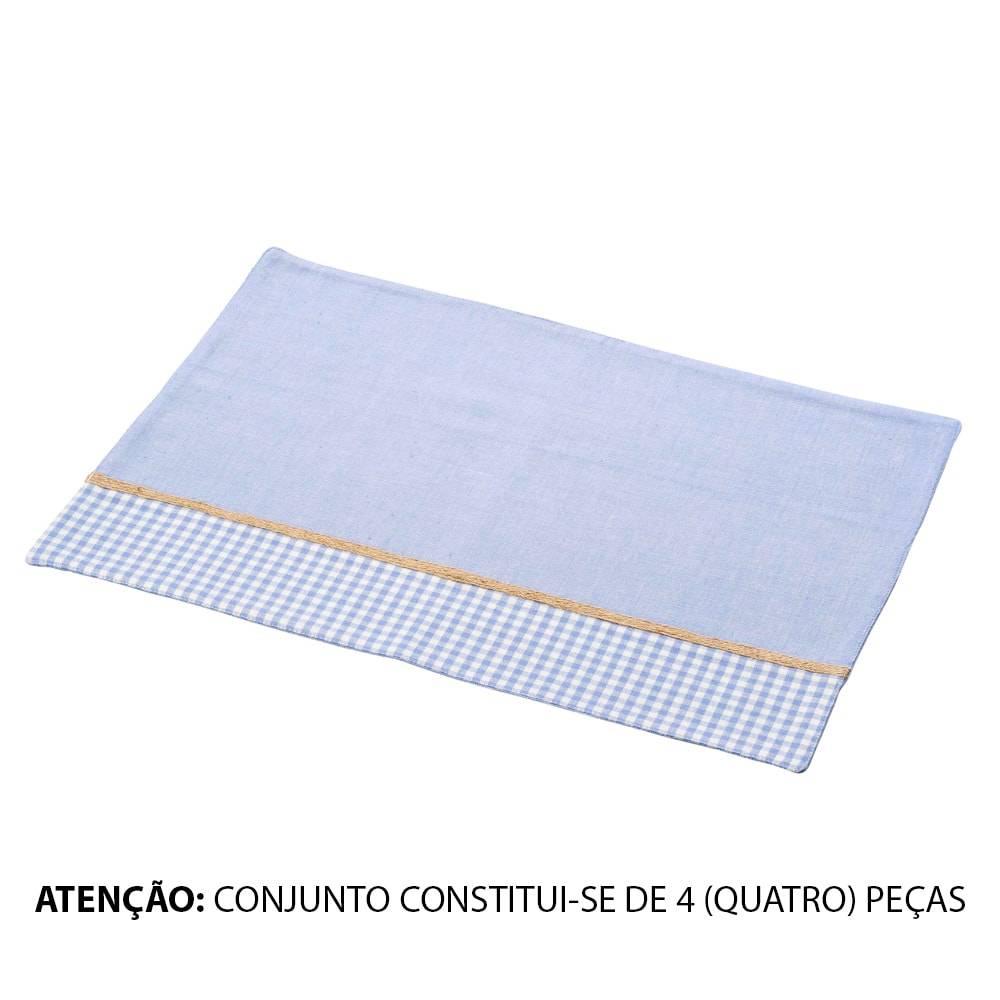 Conjunto Jogo Americano Azul c/ Detalhe Xadrez - 4 Peças - em Algodão - Lyor Classic - 48x33 cm
