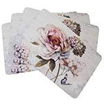 Conjunto de Jogo Americano Flor Hortência Rosa em MDF - 4 peças - 30x40 cm