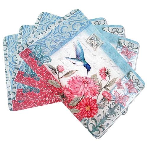 Conjunto de Jogo Americano Floral Beija Flor em MDF - 4 peças - 30x40 cm