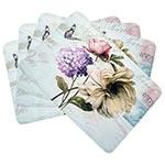 Conjunto de Jogo Americano Flores Vintage em MDF - 4 peças - 30x40 cm