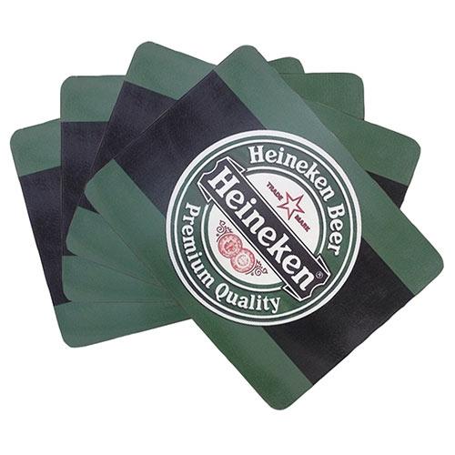 Conjunto de Jogo Americano Heineken Beer em MDF - 4 peças - 30x40 cm