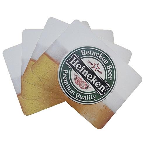Conjunto de Jogo Americano Heineken Chopp em MDF - 4 peças - 30x40 cm