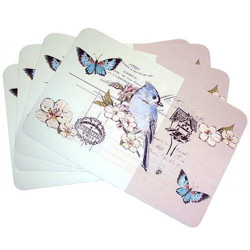 Conjunto de Jogo Americano Pássaro Azul em MDF - 4 peças - 30x40 cm