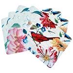 Conjunto de Jogo Americano Pássaro e Flores Coloridas em MDF - 4 peças - 30x40 cm