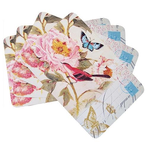 Conjunto de Jogo Americano Pássaro Vermelho e Flor Rosa em MDF - 4 peças - 30x40 cm