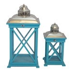 Conjunto de Lanternas - 2 Peças - Biblos Azul Oldway - 58x27 cm