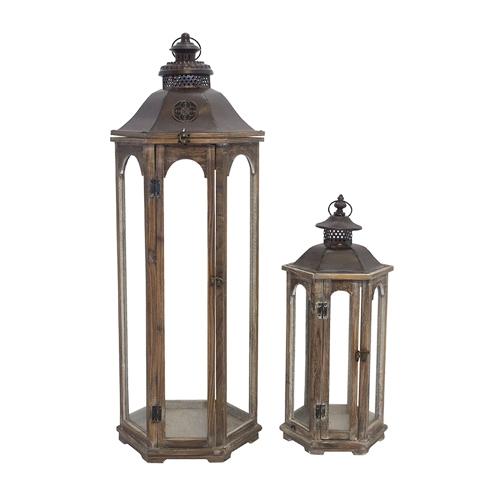 Conjunto de Lanternas - 2 Peças - Exagonal Alta Oldway - 96x35 cm
