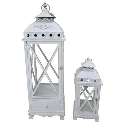 Conjunto de Lanternas 2 Peças Madeira Atenas Oldway - 99x32x32cm