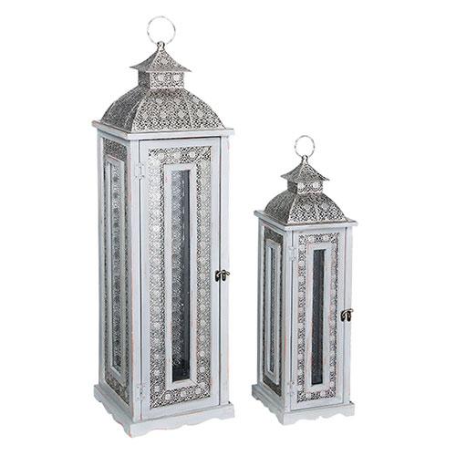 Conjunto de Lanternas - 2 Peças - Silver Bali em Madeira - 96x24 cm