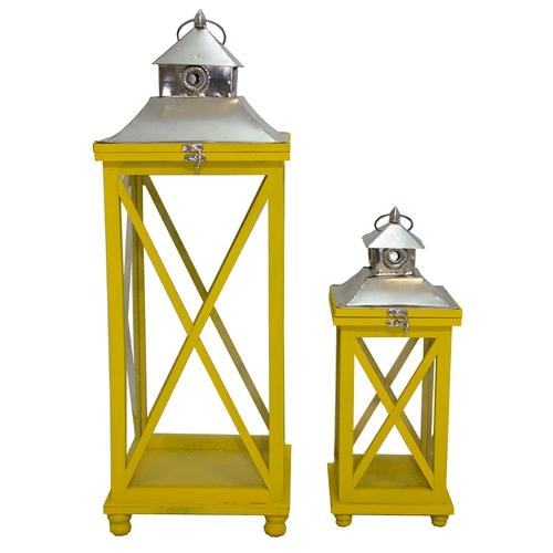 Conjunto de Lanternas - 2 Peças - Tradition Amarelo Oldway - 82x28 cm
