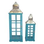 Conjunto de Lanternas - 2 Peças - Tradition Azul Oldway - 82x28 cm