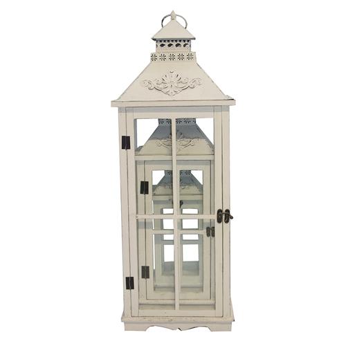 Conjunto de Lanternas - 3 Peças - Antique Branca Oldway - 86x32 cm