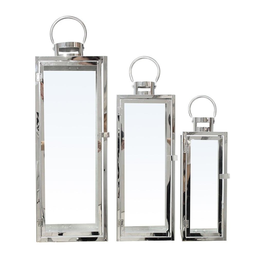 Conjunto de Lanternas - 3 Peças - Cromadas em Metal - 72x23 cm