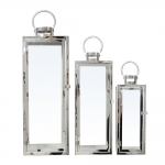 Conjunto Lanternas - 3 Peças - Cromadas em Metal - 72x23 cm