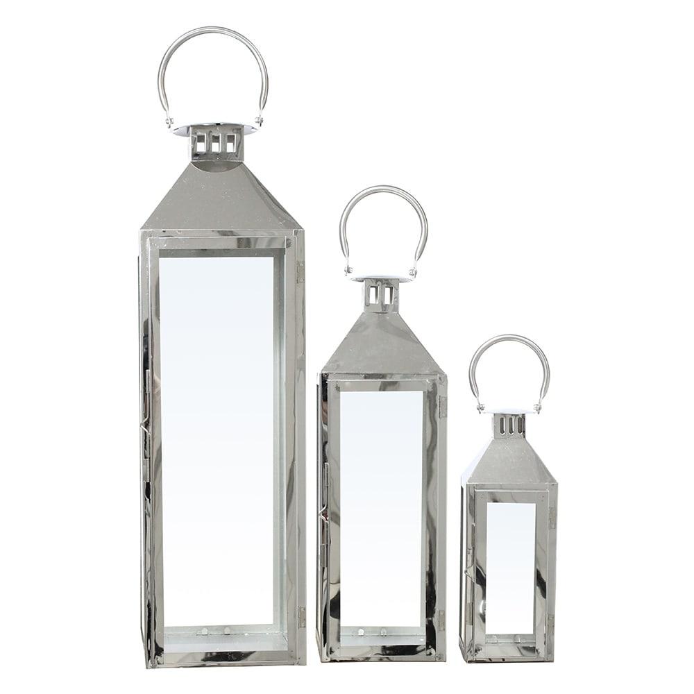Conjunto de Lanternas - 3 Peças - Glocke Cromadas em Metal - 72x19 cm
