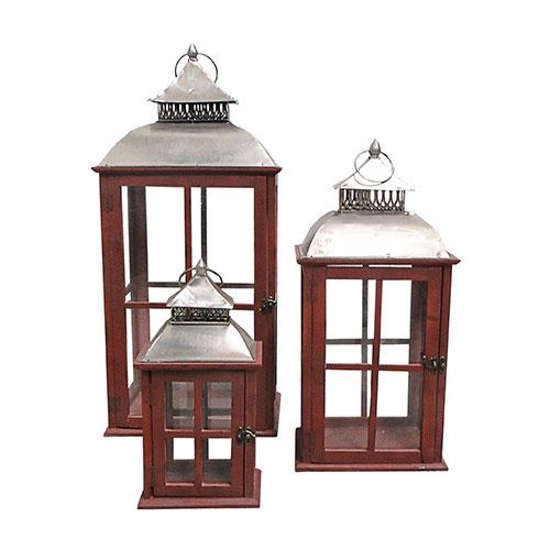 Conjunto de Lanternas Provençal Vermelhas Oldway - 82x36 cm