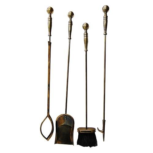 Conjunto para Lareira Bronze Fullway em Metal - 5 peças - 82x21 cm