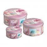 Conjunto de Latas Cupcakes - 3 Peças - Rosa em Metal