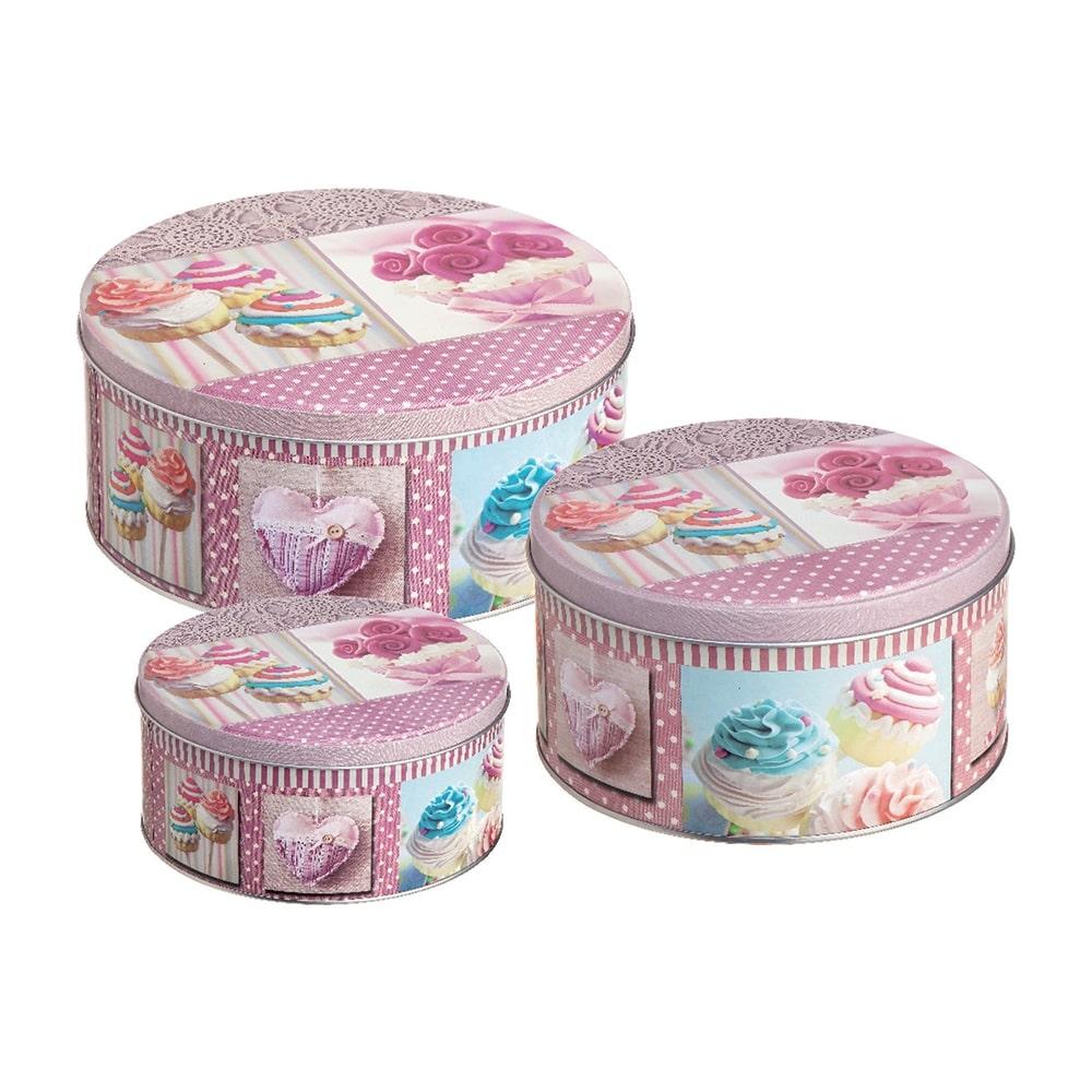 Conjunto de Latas Cupcakes - 3 Peças - Rosa em Metal - 20x9 cm